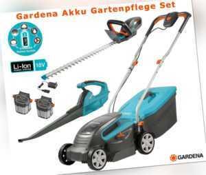 Gardena Set 18V Akku Rasenmäher Heckenschere und Laubbläser Akku u. Ladegerät