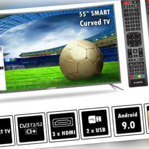 """Elements Fernseher LED Android Smart Curved TV 55"""" Zoll 4K UltraHD DVB-T2/S2"""