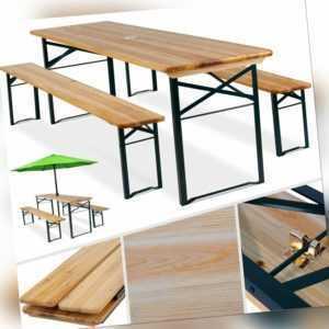 KESSER Bierzeltgarnitur Festzeltgarnitur klappbar Sitzgruppe Biertisch Bank Holz