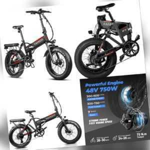 Fetter Reifen Elektrofahrrad 20 Zoll E-Bike 750W Bicycle 13.6AH 45km/h 7Gang