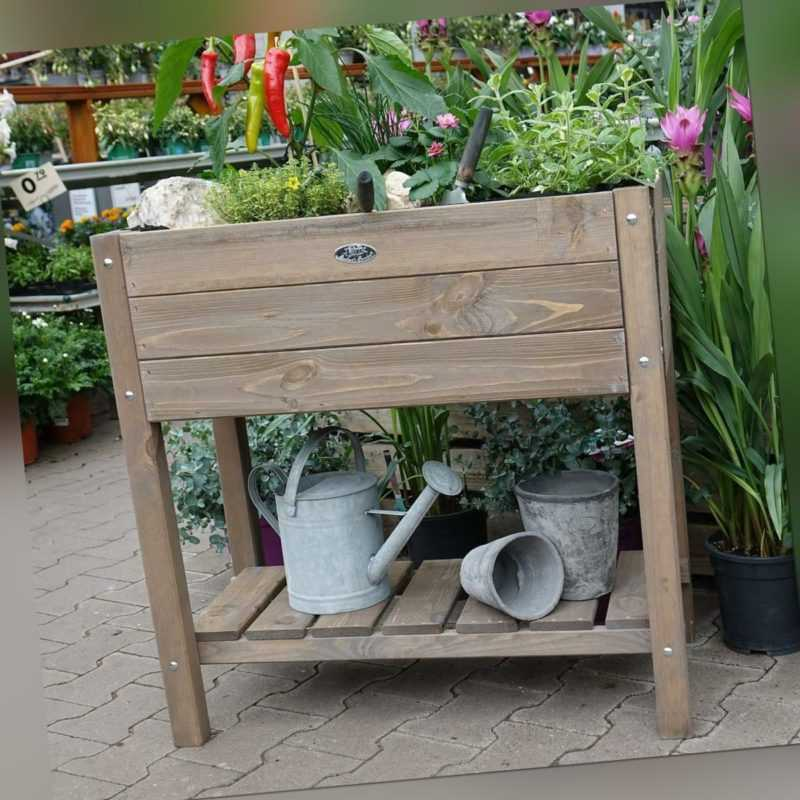 Esschert Design Hochbeet Braun mit Ablage 78,8 cm breit 65 l Volumen - FSC Holz