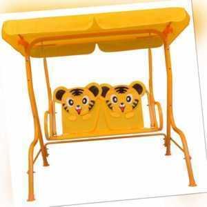Kinder Hollywoodschaukel Gelb Stoff Kinderschaukel Gartenschaukel 115x75x110cm