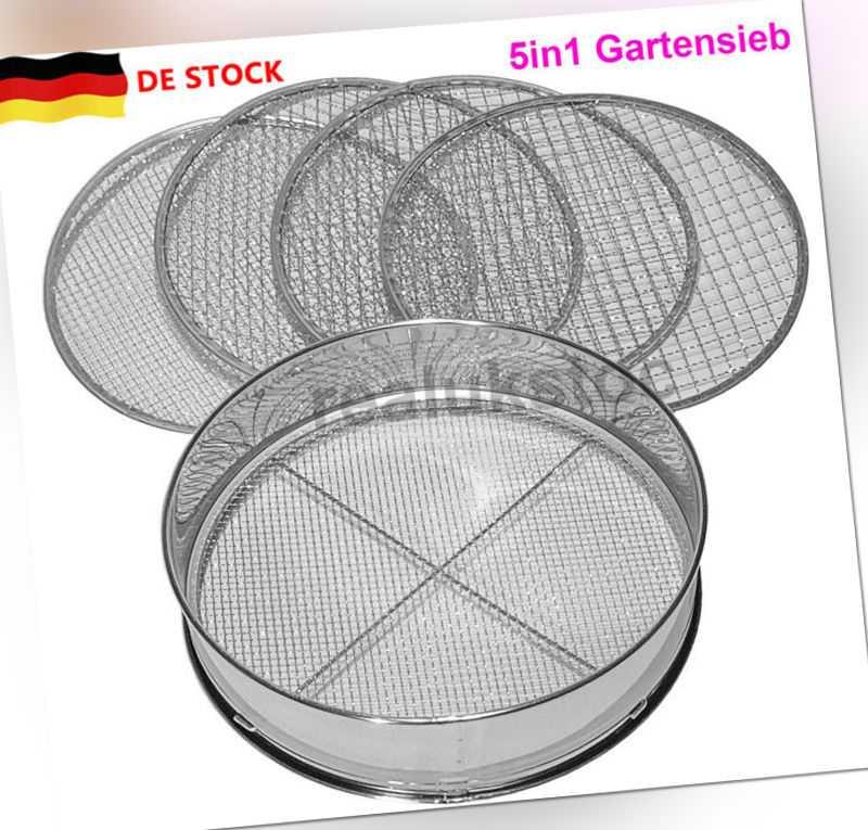 Siebmeister 5000,5in1 Gartensieb,5 austauschbare Siebeinsätze Ø 3,5,8,10,12mm DE