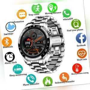 Herren Luxus Smartwatch Armband Pulsuhr Blutdruck Fitness Tracker Edelstahl DHL