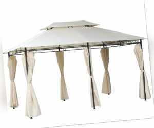 WASSERDICHT Pavillon 3x4m + Seitenwände mit 310g/m² Dach mit PVC Festzelt Beige