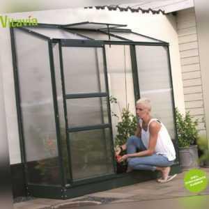 SPARSET Vitavia Anlehngewächshaus Ida 1300 193x69cm 4mm HKP + Fundament smaragd