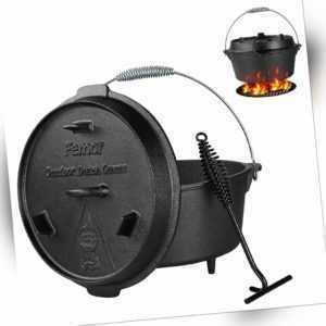 BBQ Dutch Oven Gusseisen Topf mit Deckelheber Set Gusstopf Bräter Feuertopf 4.8L