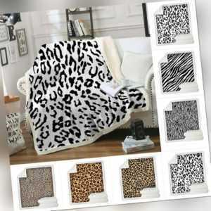 Leopard Muster Lammfell Sherpa Weich Kuscheldecke Wohn Decke