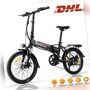 """20"""" Elektrofahrrad E BIKE Klapprad Elektro Fahrrad Pedelec 250W citybike MTB.NEU"""