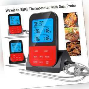 NEU LCD Grillthermometer Fleischthermometer BBQ Thermometer Funk + 2 Fühler DHL