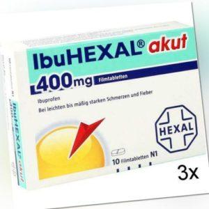 3x IBUHEXAL akut 400 Filmtabletten 10 St PZN: 68966