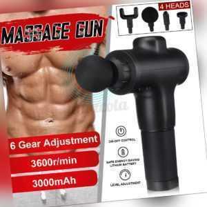 Profi Electric Massage Gun Massagepistole Massagegerät Muscle 4 Köpfe 6 Modi