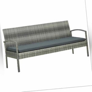 vidaXL Gartensofa 3-Sitzer mit Kissen Grau Poly Rattan Sofa Lounge Gartenbank