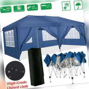 3x6M Pavillon Wasserdicht Faltpavillon Partyzelt Gartenzelt UV-Schutz Tent Blau.