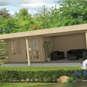 Gartenhaus Lilou ISO Blockhaus Gerätehaus Holzhaus Schuppen 820 x 490 cm 40 mm
