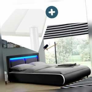 Polsterbett Doppelbett Komplett Set mit Matratze LED weiß 180 x 200 cm Juskys®