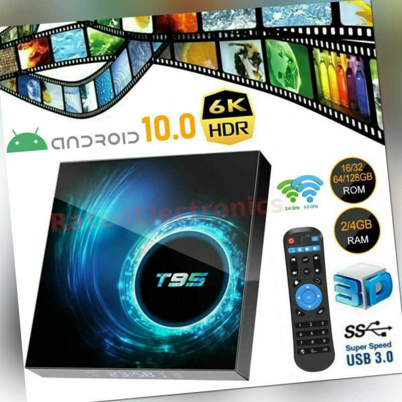 New HD T95 Smart Android 10.0 TV Box Quad Core 6K WIFI Media Stream Player