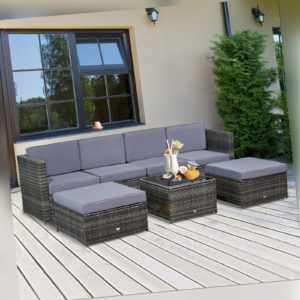 Outsunny Polyrattan Gartenmöbel 7-tlg. Gartenset Sitzgruppe Garnitur Lounge