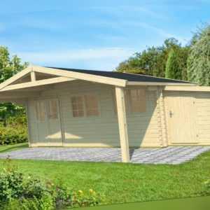 44 mm Gartenhaus 600x600 cm + Fußboden + ANBAUSCHUPPEN Gerätehaus Holzhaus Holz
