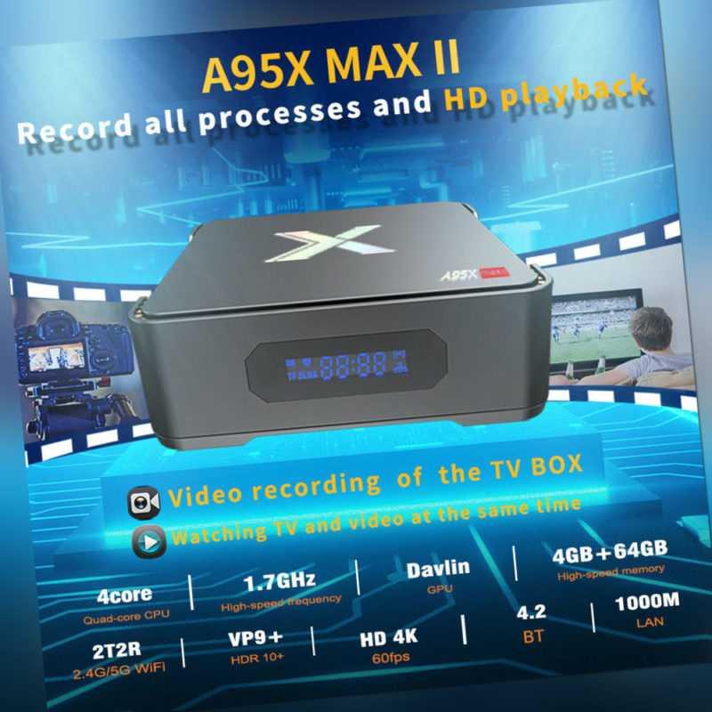 A95X MAX II TV Box Android 9.0 4+64GB 8K 1000M LAN 2.5'' HDD/SSD 5G WiFi DE M2U8