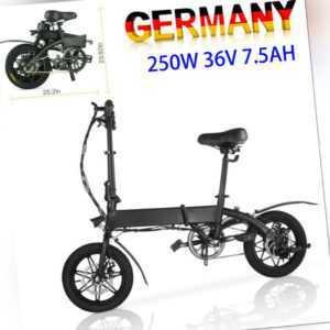 Faltbares Elektrofahrrad 14 Zoll 250W Motor 36V E-Bike Klapprad Citybike Pedelec