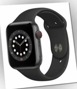 Apple Watch Series 6 44mm LTE Grau Aluminiumgehäuse mit Schwarz Sportarmband