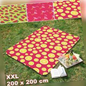 Picknickdecke XXL Campingdecke Reisedecke Autodecke 200x200cm