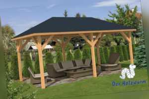 Pavillon Corfu Gartenlaube 590 x 340 cm Pfostenstärke 11,5 x 11,5 cm Holz Neu