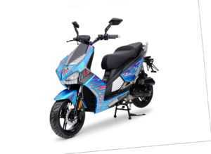 BAD S Blau 49cc Sport Motorroller Roller Moped