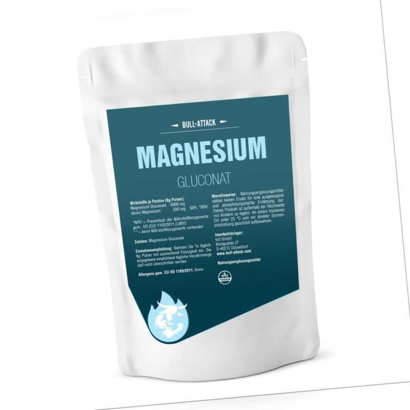 MAGNESIUM GLUCONAT PULVER   500g-1000g reines Magnesium   100% rein Ohne Zusätze