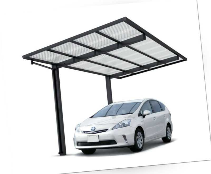 Aluminium Carport freistehend Schwarz Einzelcarport Bausatz Welldach 531x275 cm