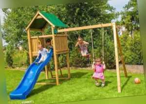 Kibungi Kinderspielturm FUNNY2 Klettergerüst Rutsche Schaukel Holz