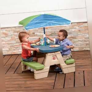 Kinder-Picknick-Sitzgruppe Steinoptik blau grün Schirm 4 Kinder Step2 74x71x46cm