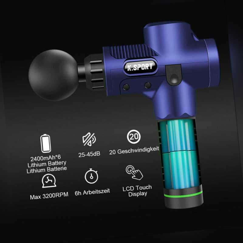Electric LCD Massage Gun Massagepistole Muscle Massager Massagegerät 8 Köpfe DHL