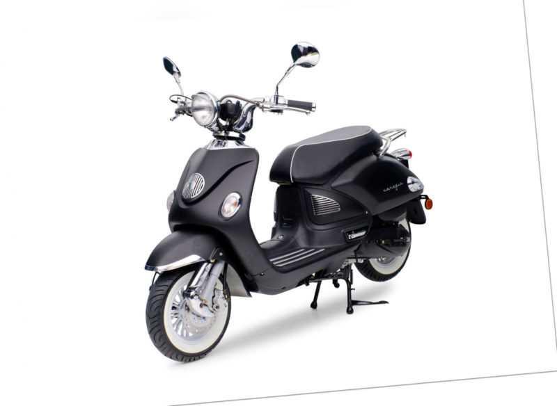 Venezia schwarz matt 49ccm Retro Motorroller Roller Moped