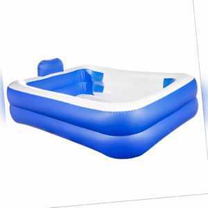 Garten Pool 200 x 150 rechteckig blau weiß 440 L Schwimmbecken Planschbecken