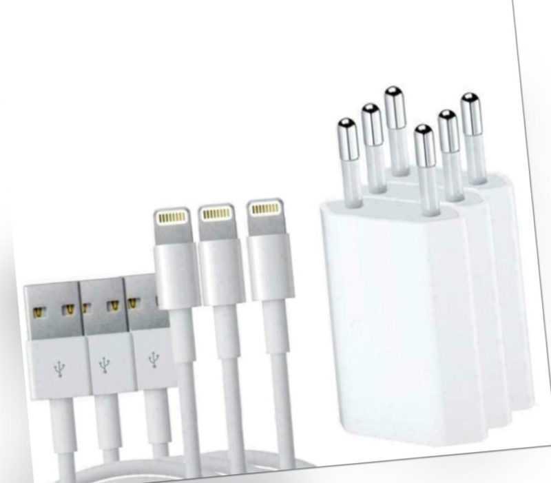 Ladekabel iPhone 5 6 7 8 X XS 11 iPad 3x Kabel für Original Apple 1m + Netzteil