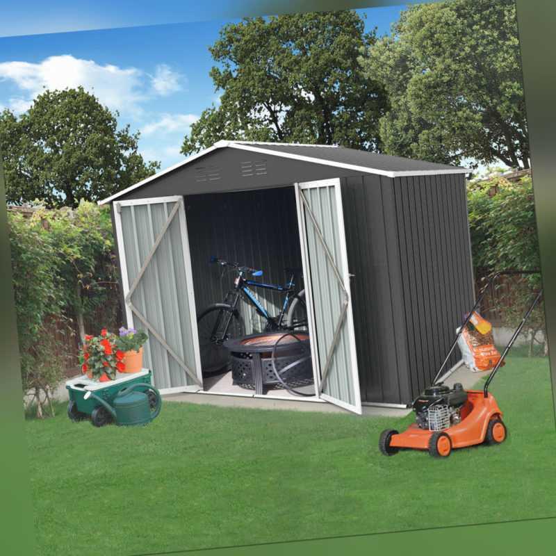 Metall Gerätehaus Geräteschuppen Garten Haus Schuppen Gartenhaus Fundament Grau