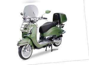 EasyCruiser Grün / Matt 49ccm Retro Motorroller Roller Moped