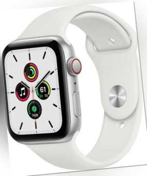 Apple Watch SE GPS + Cellular 44mm Silver Aluminium Case with White Sport Band