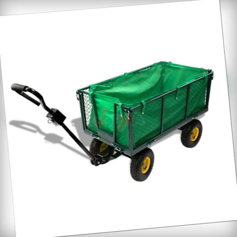Gartenwagen Handwagen Handkarre Planwagen Bollerwagen Transportwagen grün 913985