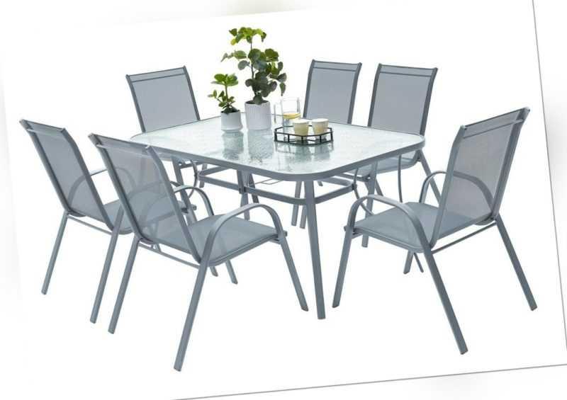 7 Stück Garten Set Tisch und 6 Stühle Möbelset stapelbare Stühle graues Set