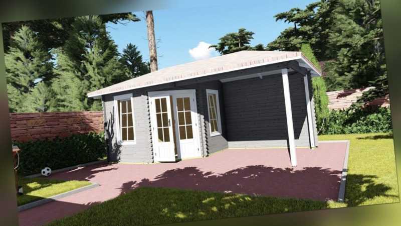 5-Eck Gartenhaus Holz Schleppdach 5.8x3M Blockhaus Holz 40mm Erfurt EB40049soF