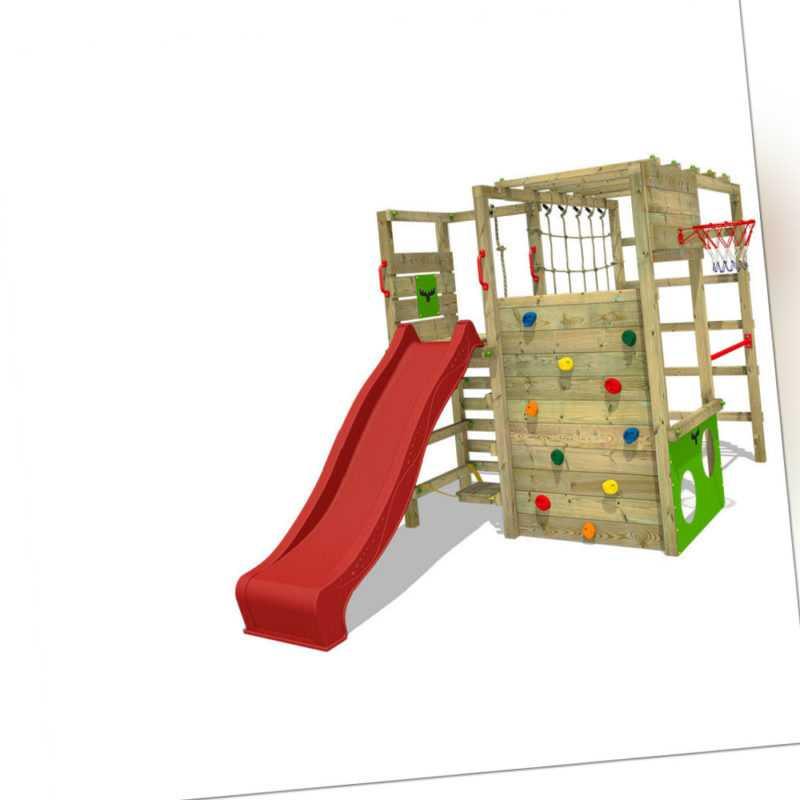 FATMOOSE Klettergerüst Spielturm ActionArena mit Kletterwand & roter Rutsche