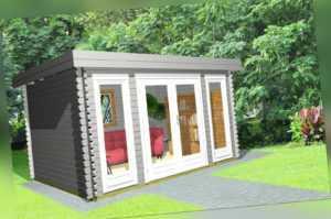 Flachdach Gartenhaus Holz Modern 40mm 3.9x3M, Blockhaus, Melle EB40206L
