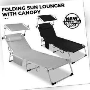 DHL Sonnenliege Gartenliege klappbar Dach Strandliege Campingliege Liegestuhl DE