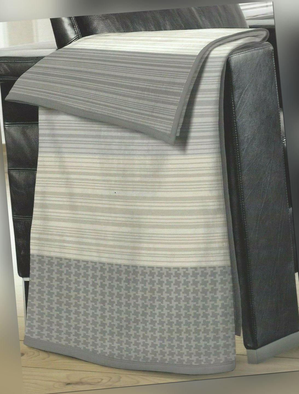 Biberna Baumwolle Dralon Wohndecke Kuscheldecke Streifen beige