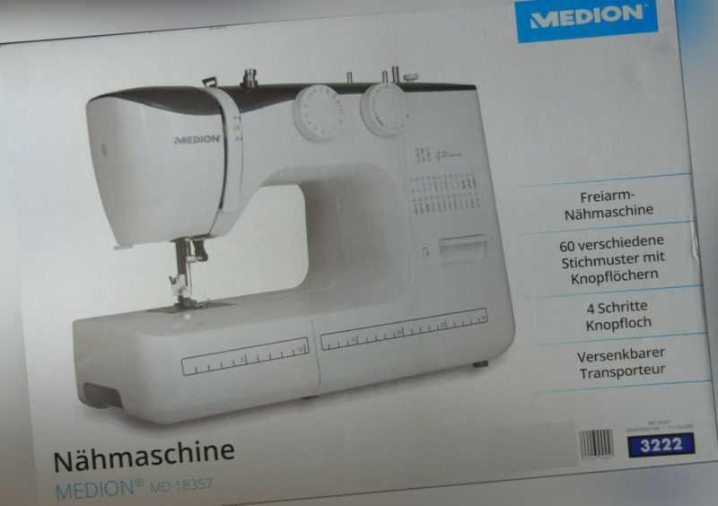 MEDION Freiarm-Nähmaschine MD 18357, 60 Stichmuster LED-Nählicht, neu