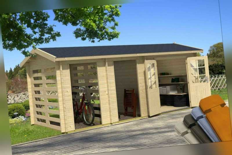 28 mm Gartenhaus Hokkaido Gerätehaus 570x270 cm Blockhaus Holzhaus Schuppen