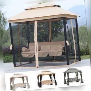 Outsunny Gartenschaukel Hollywoodschaukel Bettfunktion Gartenliege Pavillon